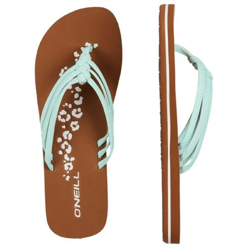O'NEILL WOMENS FLIP FLOPS.NEW 3 STRAP DITSY WATER FAUX LEATHER THONGS 9S 14/5201